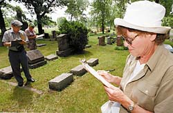 Illiana Jewish Genealogical Society volunteers (from left) Fred Buschbaum of Homewood, Fay Ruth of Homewood and Marilyn Lichtenstein of Park Forest record information from gravestones at Kneseth Israel Cemetery in Hammond. (Warren Skalski/Special to the Daily Southtown)